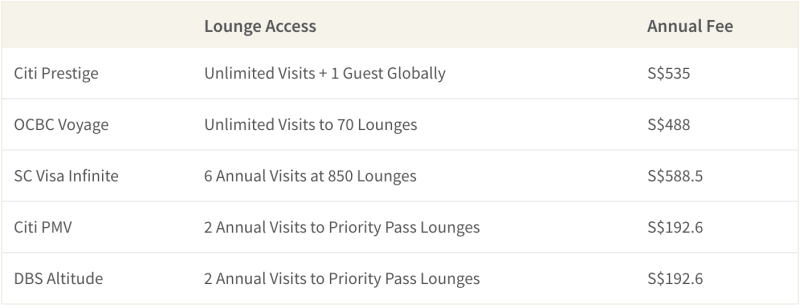 Citi PMV, DBS Altitude, Citi Prestige, OCBC Voyage and Standard Chartered Visa Infinite Cards are some of the best travel credit cards in Singapore that offer complimentary airport lounge access