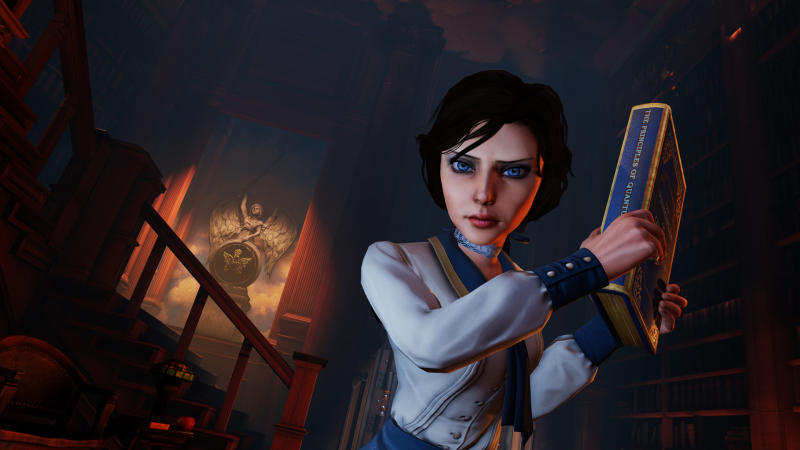 """This publicity photo released by 2K Games/Irrational Games shows the character, Elizabeth, in a scene from the video game """"BioShock Infinite."""" With an enterprising blend of art and technology, the creators of """"BioShock Infinite"""" have aspirations that she'll be the most human-like character to ever appear in a video game. (AP Photo/2K Games/Irrational Games)"""