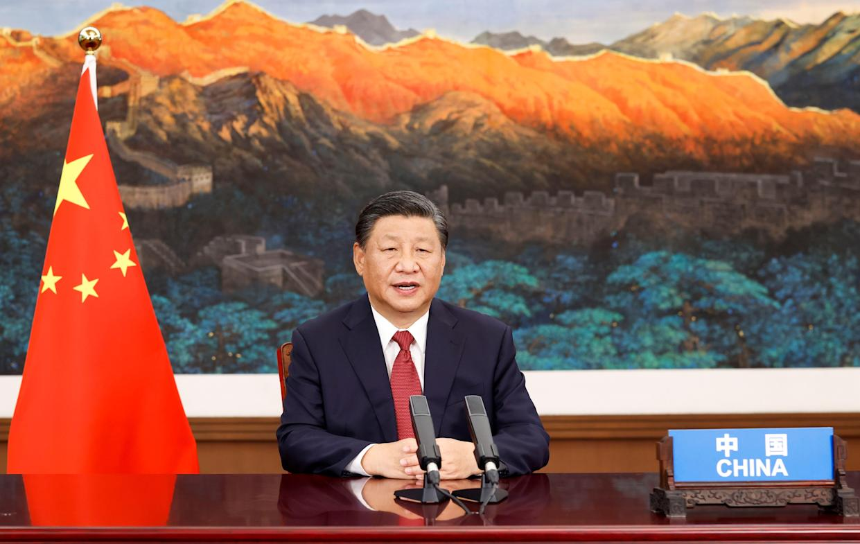 Chinese President Xi Jinping addresses the general debate of the 76th session of the United Nations General Assembly via video, in Beijing, capital of China, Sept. 21, 2021. (Photo by Huang Jingwen/Xinhua via Getty Images)
