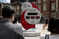 The Tokyo Olympic countdown clock shows five days to go before the opening ceremony on July 23