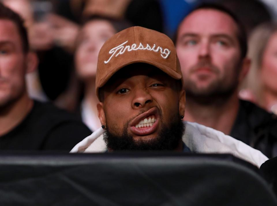 <p>New York Giants Receiver Odell Beckham Jr watches the women's bantamweight bout between Raquel Pennington of the United States and Miesha Tate of the United States during the UFC 205 event at Madison Square Garden on November 12, 2016 in New York City. (Photo by Michael Reaves/Getty Images ) </p>