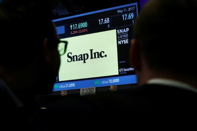 Traders look up at a screen that displays trading information for Snap Inc. on the floor of the NYSE in New York