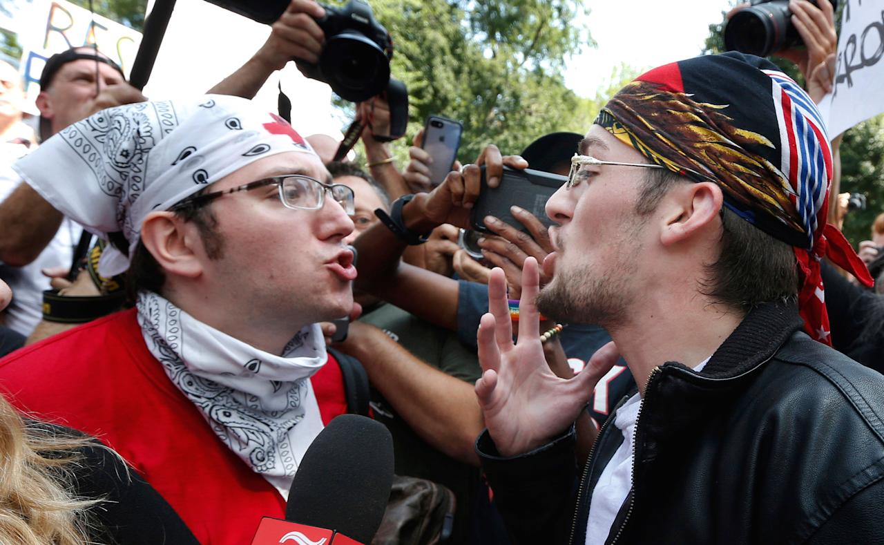 """<p>A counter-protester and """"Free Speech Rally"""" attendee face off in the crowd.</p>"""