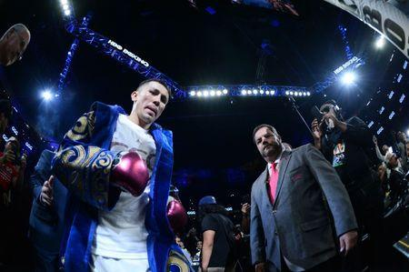 Sep 15, 2018; Las Vegas, NV, USA; Gennady Golovkin enters the arena to face Canelo Alvarez (not pictured) in the middleweight world championship boxing match at T-Mobile Arena. Alvarez won via majority decision. Mandatory Credit: Joe Camporeale-USA TODAY Sports