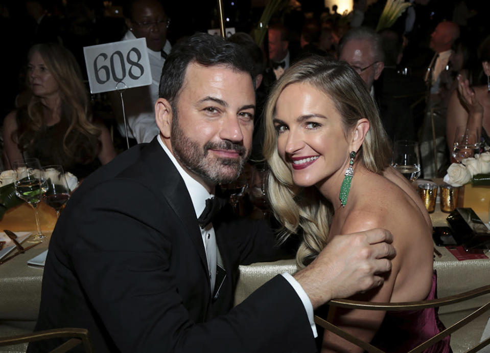 <p>Jimmy Kimmel and his wife, Molly McNearney, a writer on his late-night show, at the Governors Ball. (Photo: Alex Berliner/Invision for the Television Academy/AP Images) </p>