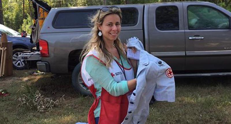 Kristie Holmes pictured in a Red Cross vest.