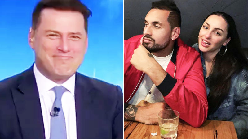 Karl Stefanovic, pictured here asking Nick Kyrgios about the wrong girlfriend.