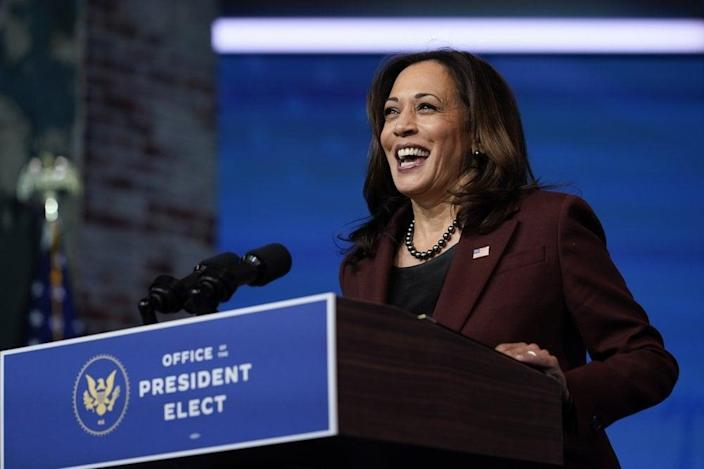 Vice President-elect Kamala Harris speaks as she and President-elect Joe Biden introduce their nominees and appointees to key national security and foreign policy posts at The Queen theater, in Wilmington, Del. (AP Photo/Carolyn Kaster, File)