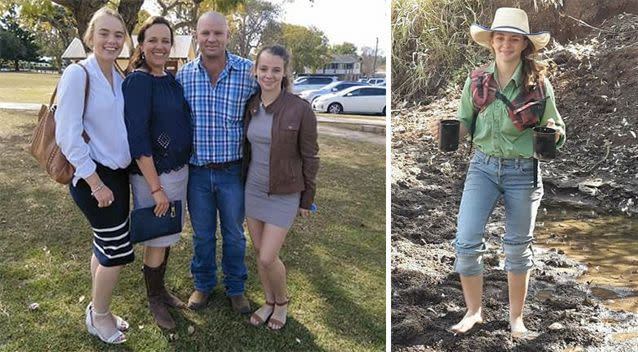 Left: Amy 'Dolly' Everett (far right) pictured with her family. Right: Dolly at her home in Katherine. Source: Facebook/Tick Everett