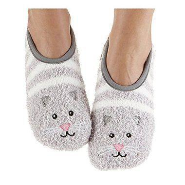 "<p><strong>Snoozies</strong></p><p>amazon.com</p><p><strong>$12.95</strong></p><p><a href=""http://www.amazon.com/dp/B00RDBDNGC/?tag=syn-yahoo-20&ascsubtag=%5Bartid%7C10055.g.4670%5Bsrc%7Cyahoo-us"" rel=""nofollow noopener"" target=""_blank"" data-ylk=""slk:Shop Now"" class=""link rapid-noclick-resp"">Shop Now</a></p><p>Bring out her inner cat lady with a pair of snuggly slippers. This pair is a cross between fuzzy socks and full-on slippers, which means they're lightweight, easy to pack, and insanely comfortable.</p>"
