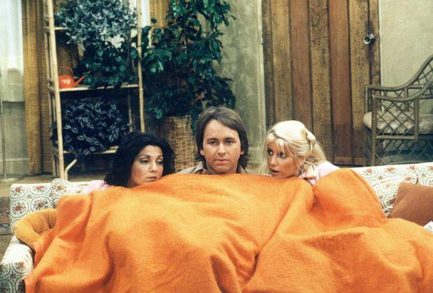 PHOTO: Joyce DeWitt, as Janet, John Ritter, as Jack, and Suzanne Somers, as Chrissy, in a scene from 'Three's Company.' (Walt Disney Television via Getty Images)