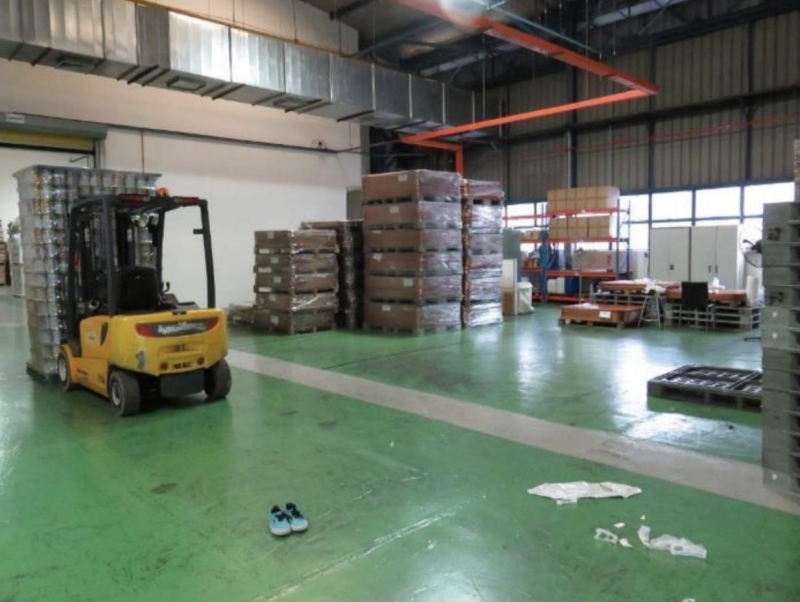 The accident scene involving the forklift at M C Packaging's production area. (PHOTO: Ministry of Manpower)