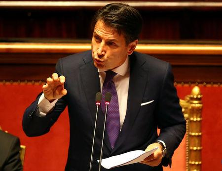 Newly appointed Italian PM Conte speaks during his first session at the Senate in Rome