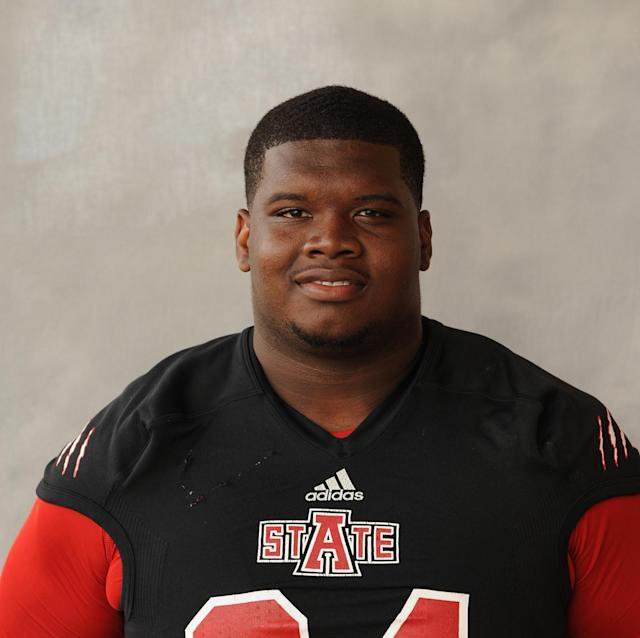 This 2013 photo released by the Arkansas State shows NCAA college football player Markel Owens. Authorities said Thursday, Jan. 16, 214, that the junior defensive lineman was one of two men shot to death during a home invasion robbery in Jackson, Tenn., Wednesday night. (AP Photo/Arkansas State, Richard Bishop)