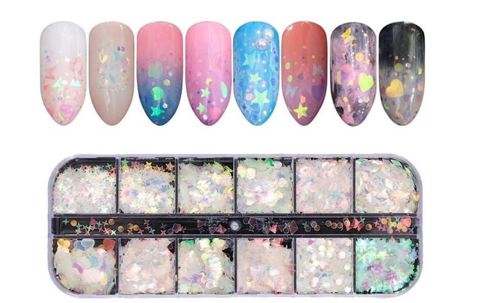 <p>The more nail decorations you have in your kit, the better. The <span>Volodia Holographic Nail Sequins</span> ($6) feature 12 different holographic sequin shapes for you to play with.</p>