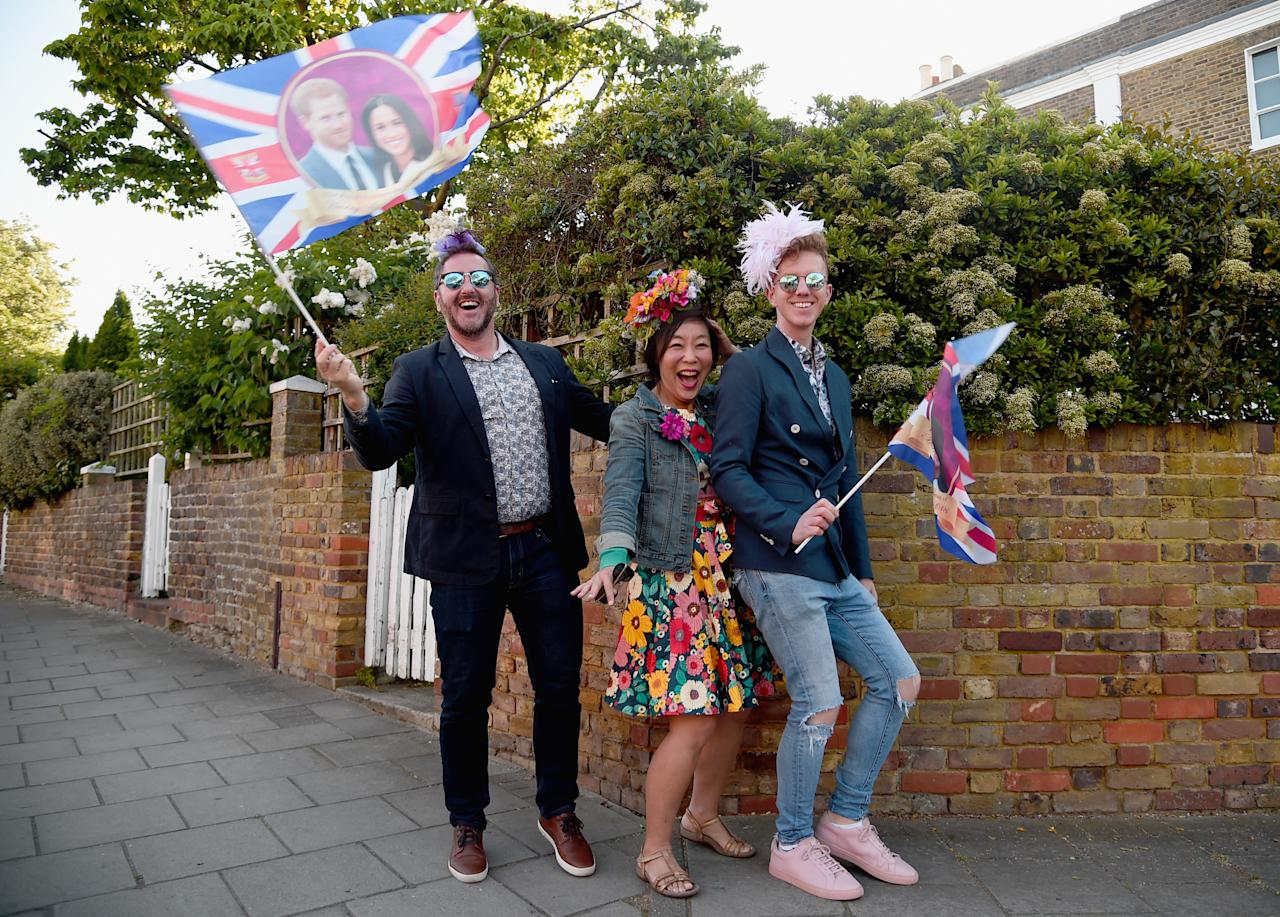 <p>Starting early: Royal wedding fun-lovers get in the party spirit on Saturday morning. (Getty) </p>