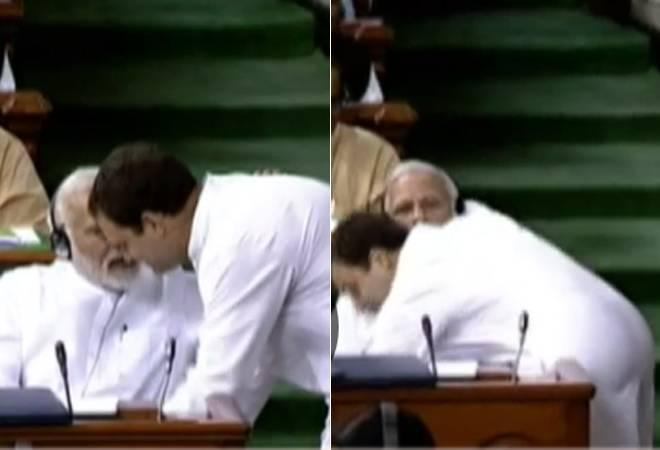 """Just before finishing his sharp attack and subsequently hugging the PM, Gandhi said, """"You might have anger for me. You might call me names, call me Pappu, but I will remove this feeling from you."""