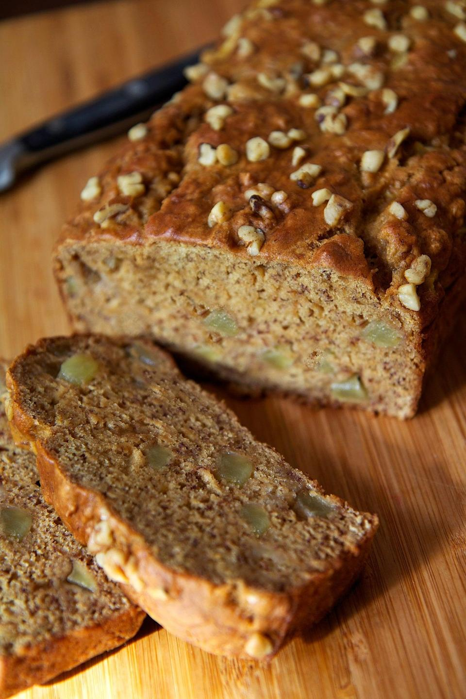 "<p>Adding the juiciness of cooked apples to banana bread makes this recipe a standout. Plus, it's so naturally sweet from the fruit that you don't need any extra sugar. </p> <p><strong>Calories:</strong> 147 per slice<br> <strong>Protein:</strong> 2.4 grams</p> <p><strong>Get the recipe:</strong> <a href=""http://www.popsugar.com/fitness/Recipe-Low-Fat-Vegan-Banana-Apple-Chunk-Bread-17517646/"" class=""link rapid-noclick-resp"" rel=""nofollow noopener"" target=""_blank"" data-ylk=""slk:vegan banana apple chunk bread"">vegan banana apple chunk bread</a></p>"