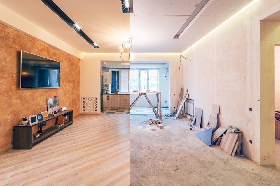 Modern interior design of big living-kitchen studio room, before and after. (Photo: Getty)