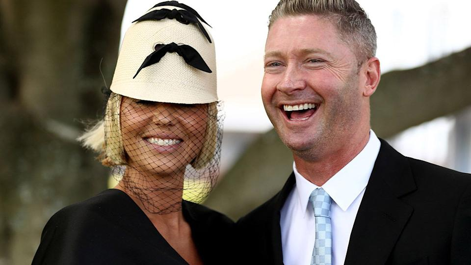 Pip Edwards and Michael Clarke, pictured here at the Everest Race Day.