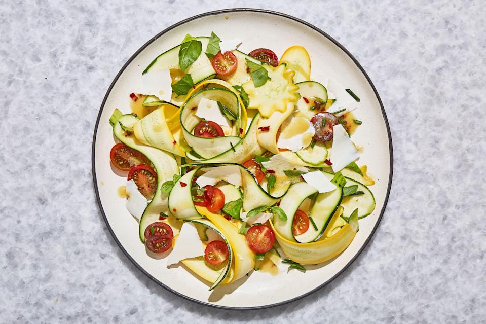 "Be sure to serve this salad with croutons or crusty bread alongside. The juices from the tomatoes, squash, and dressing make for a magical combination—you'll need something to soak it up with. Read more about the underdog cheese, <a href=""http://www.bonappetit.com/test-kitchen/ingredients/article/ricotta-salata?mbid=synd_yahoo_rss"" rel=""nofollow noopener"" target=""_blank"" data-ylk=""slk:ricotta salata, here"" class=""link rapid-noclick-resp"">ricotta salata, here</a>. <a href=""https://www.bonappetit.com/recipe/shaved-squash-salad-with-tomatoes-and-ricotta-salata?mbid=synd_yahoo_rss"" rel=""nofollow noopener"" target=""_blank"" data-ylk=""slk:See recipe."" class=""link rapid-noclick-resp"">See recipe.</a>"