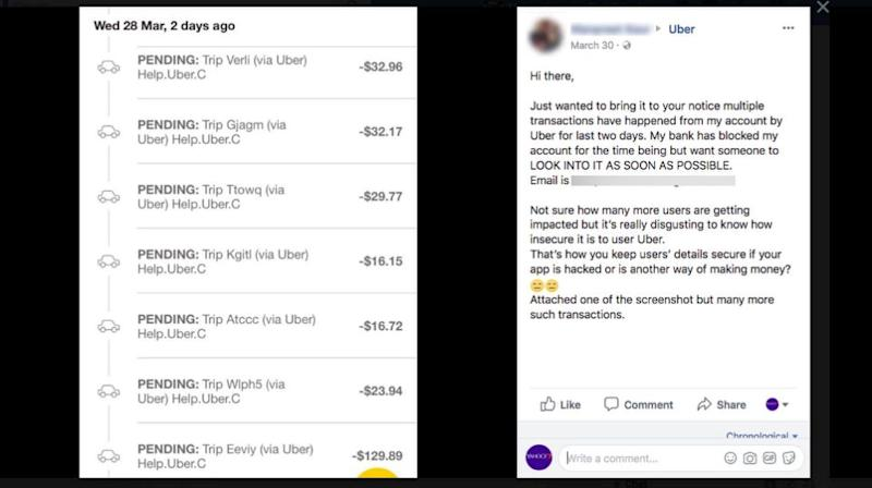 Another user claimed unauthorised debits appearing to be from Uber were also made from from her account this week. Source: Uber Australia Facebook page