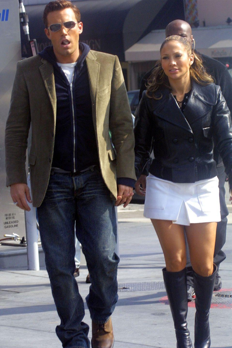 <p>The couple holds hands on the set of a Lopez music video on October 20, 2002 in Beverly Hills. </p>