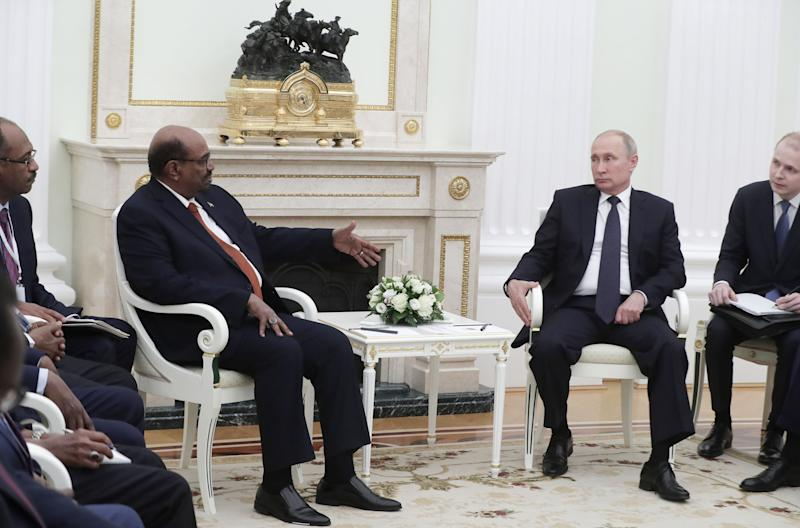 Putin, right, with Sudan's Omar al-Bashir in Moscow in July 2018. Sudan has welcomed a number of Russian ventures from military aid to political consulting | Mikhail Metzel—Tass/Getty Images
