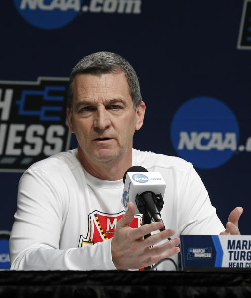 Maryland head coach Mark Turgeon speaks during a news conference before the second round of the men's college basketball NCAA Tournament, in Jacksonville, Fla., Friday, March 22, 2019. (AP Photo/Stephen B. Morton)