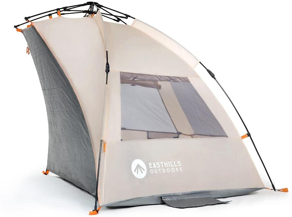 """<h2>Easthills Outdoors Instant Shader Extended Easy Up Beach Tent</h2><br>When you're headed to a public beach, a little privacy may be desired. The Instant Shader tent features an extended ground sheet that can be zippered as a front door.<br><br><em><strong>Shop <a href=""""https://www.amazon.com/stores/Easthills+Outdoors/page/F537870F-8C3C-4CCF-A078-CCCBD8954693?ref_=ast_bln"""" rel=""""nofollow noopener"""" target=""""_blank"""" data-ylk=""""slk:Easthills Outdoors"""" class=""""link rapid-noclick-resp"""">Easthills Outdoors</a></strong></em><br><br><strong>Easthills Outdoors</strong> Instant Shader Extended Easy Up Beach Tent, $, available at <a href=""""https://www.amazon.com/Easthills-Outdoors-Instant-Extended-Shelter/dp/B01N7KQF7X"""" rel=""""nofollow noopener"""" target=""""_blank"""" data-ylk=""""slk:Amazon"""" class=""""link rapid-noclick-resp"""">Amazon</a>"""