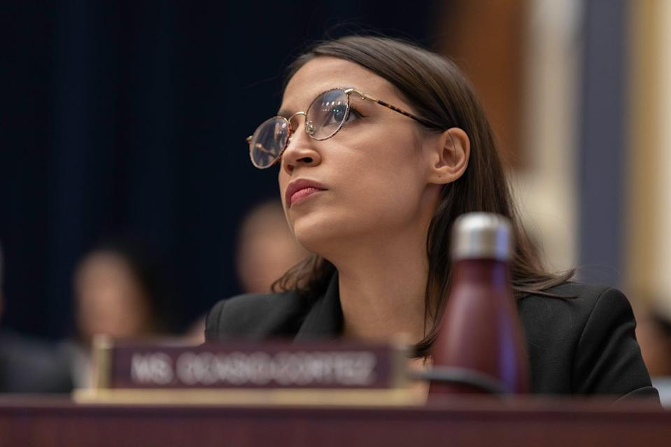 Rep. Alexandria Ocasio-Cortez is seen during the Facebook CEO, Mark Zuckerberg, testified before the House Financial Services Committee on Wednesday morning in Capitol Hill. Washington, D.C. October 23, 2019. (Photo by Aurora Samperio/NurPhoto via Getty Images)