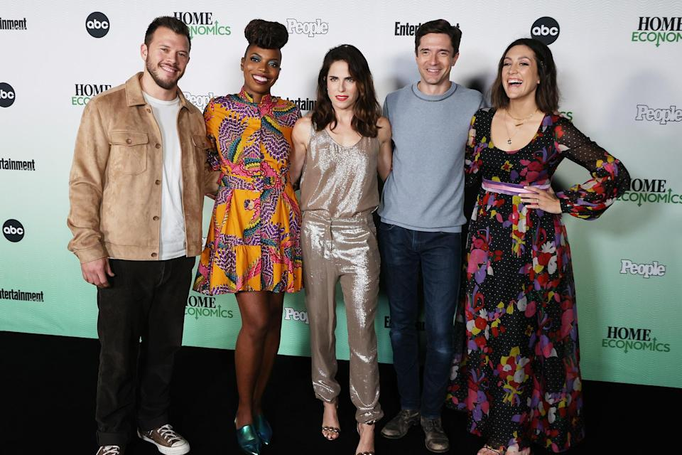 <p>The cast of ABC's <em>Home Economics </em>(including, from left, Jimmy Tatro, Sasheer Zamata, Karla Souza, Topher Grace and Caitlin McGee) keep it all in the (TV) family at a PEOPLE & EW-hosted drive-in screening of the show's season 2 premiere in L.A. on Sept. 20.</p>