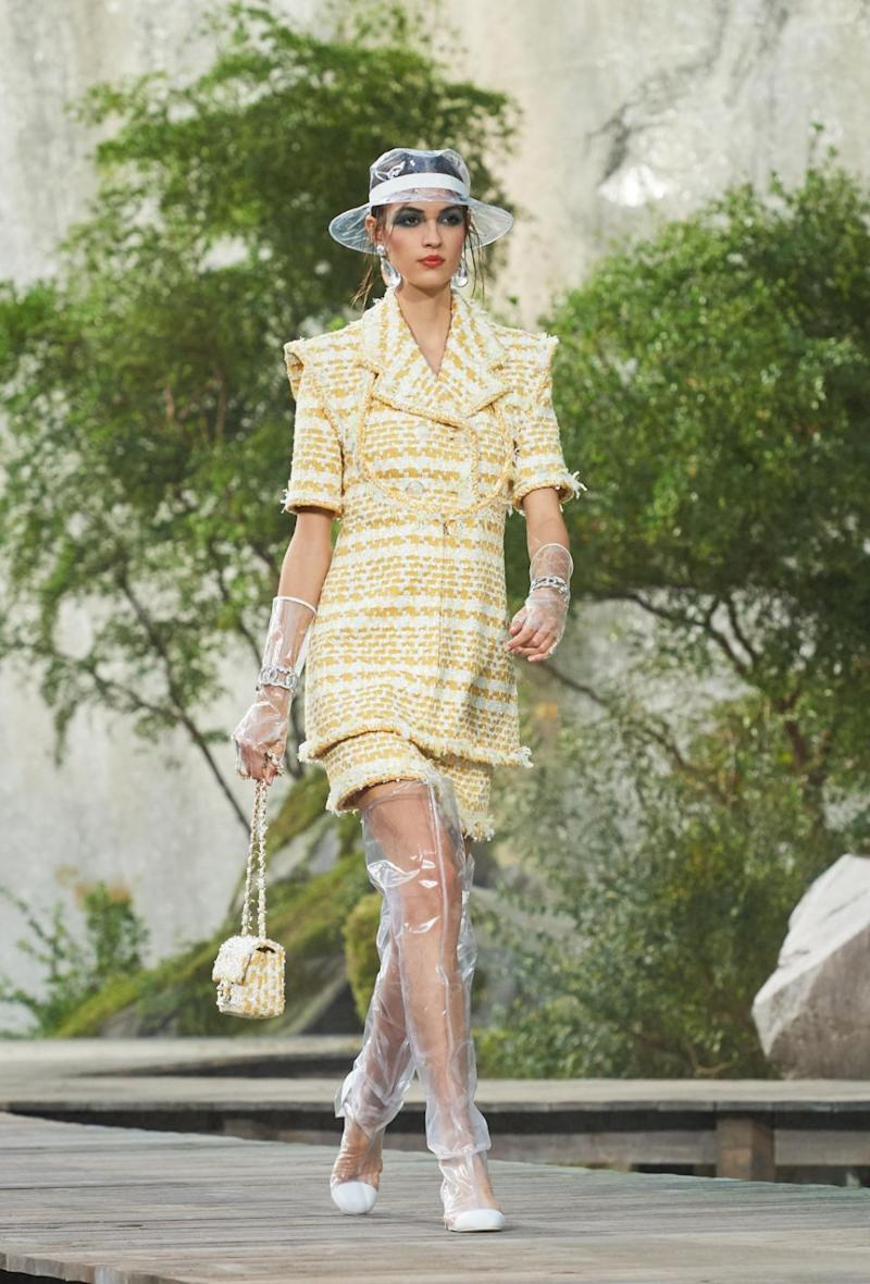 Rain hats and rain boots were on show in the Spring/Summer collection. Photo: Chanel