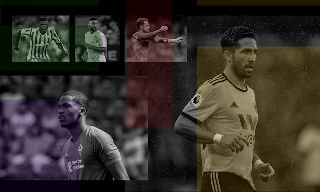 William Carvalho of Real Betis, Saman Ghoddos of Amiens, Southampton's Danny Ings, João Moutinho of Wolves and Fiorentina's Alban Lafont. Composite: Jim Powell.