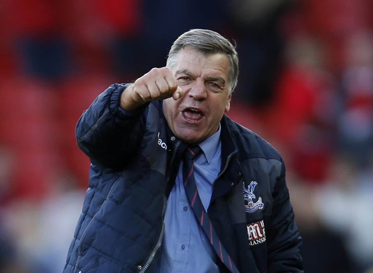 "Britain Football Soccer - Liverpool v Crystal Palace - Premier League - Anfield - 23/4/17 Crystal Palace manager Sam Allardyce celebrates after the match  Action Images via Reuters / Paul Childs Livepic EDITORIAL USE ONLY. No use with unauthorized audio, video, data, fixture lists, club/league logos or ""live"" services. Online in-match use limited to 45 images, no video emulation. No use in betting, games or single club/league/player publications.  Please contact your account representative for further details."
