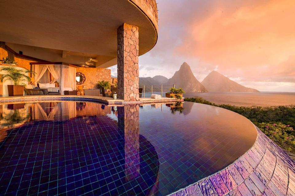 An infinity pool at Jade Mountain resort in St Lucia, voted one of the best hotels in the world