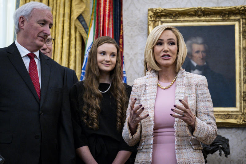 Paula White, a Florida televangelist and religious adviser to President Donald Trump, speaks at the White House in Washington, Jan. 16, 2020. (Pete Marovich/The New York Times)