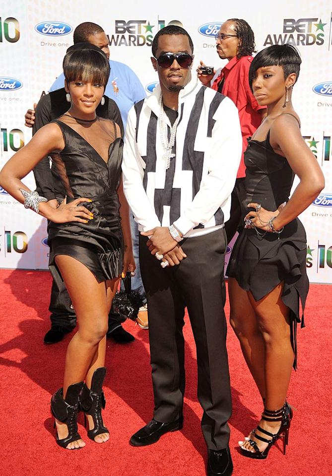 """Sean Combs walked the red carpet at the 2010 BET Awards in LA with his new Diddy-Dirty Money bandmates Dawn Richard and Kalenna. While Dawn and Kalenna rocked black minis and fierce footwear, Diddy threw on an ugly black-and-white print jacket and some bling for the event. Jeff Kravitz/<a href=""""http://www.filmmagic.com/"""" target=""""new"""">FilmMagic.com</a> - June 27, 2010"""