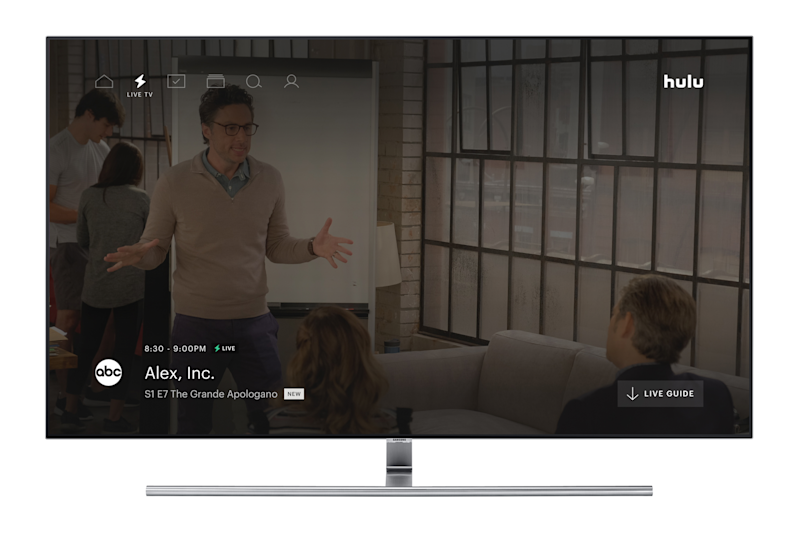 Hulu's Live TV service interface shown on a TV