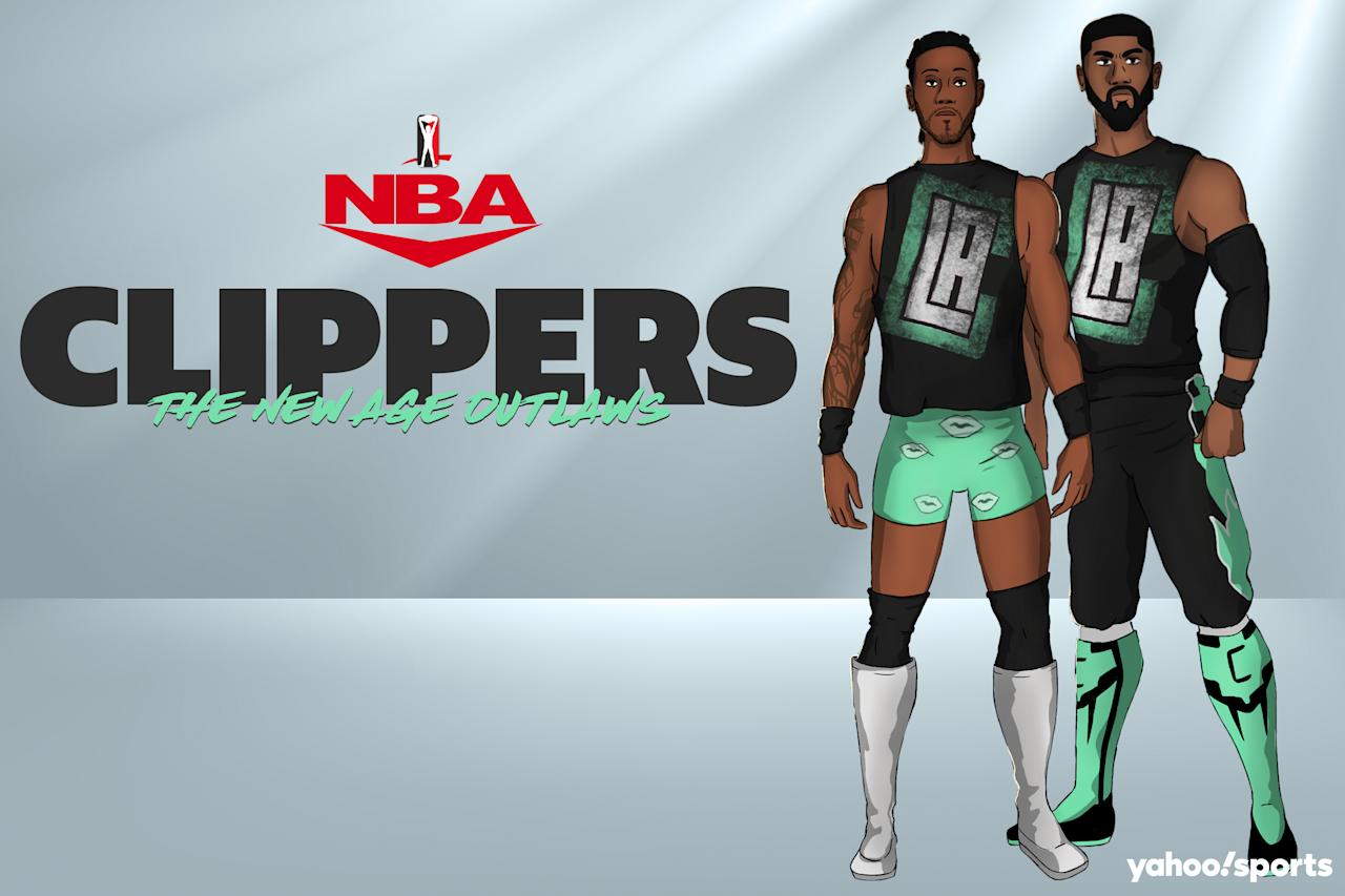 Kawhi Leonard as Billy Gunn and Paul George as Road Dogg Jesse James