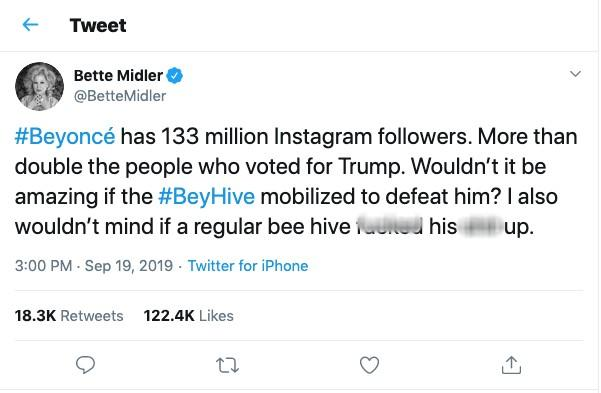 "Bette Midler tweeted that it would be ""amazing"" if Beyoncé's fans mobilized to defeat President Donald Trump in the 2020 race. Credit: Twitter"