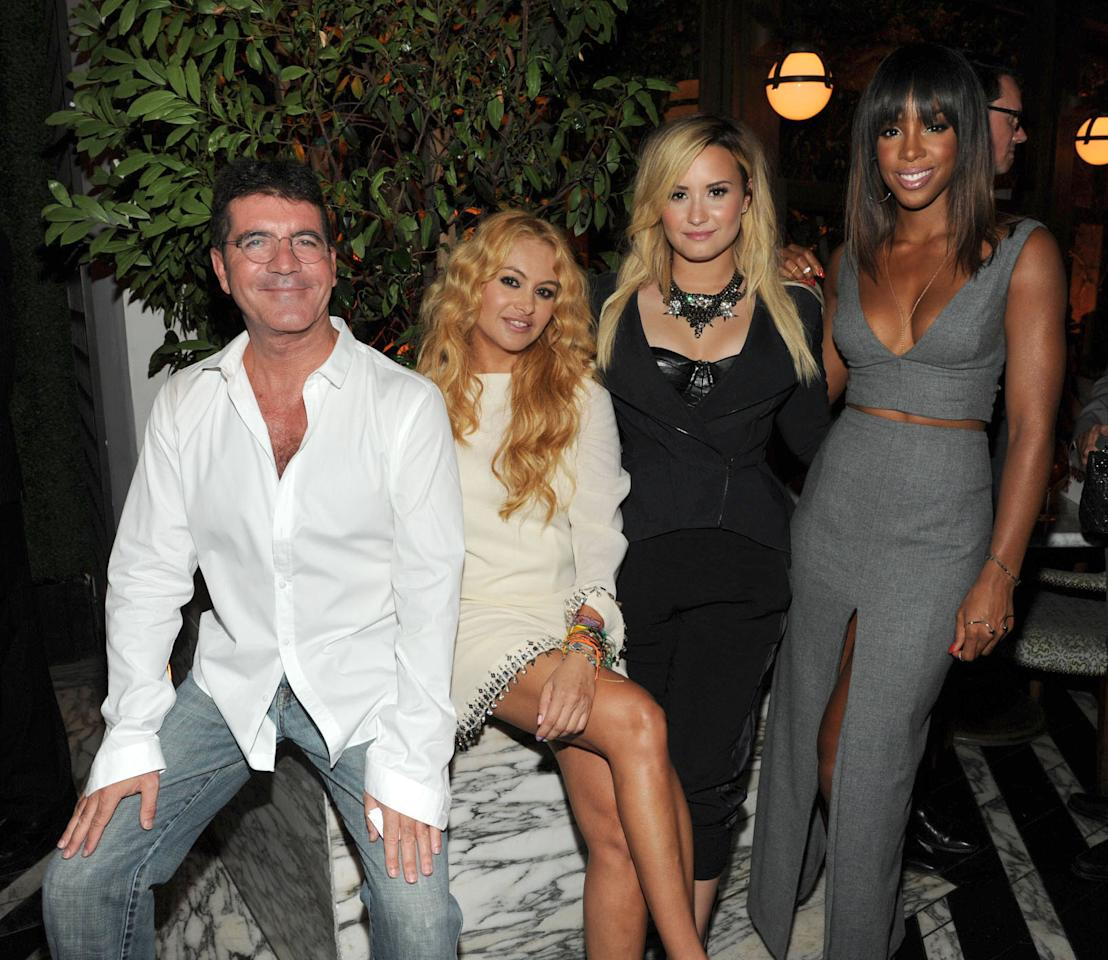 "THE X FACTOR: Judges Simon Cowell, Paulina Rubio, Demi Lovato and Kelly Rowland attend Fox's ""The X Factor"" Season 3 premiere party at Ciccone Restaurant on September 5, 2013 in West Hollywood, California."