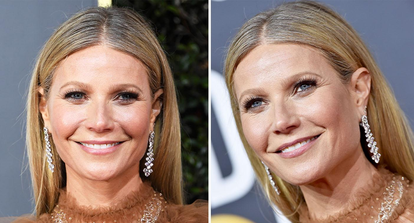 Gwyneth Paltrow displays her naturally grey roots at the Golden Globes. [Photo: Getty]