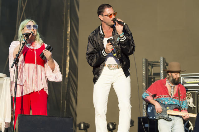 <p>NEW ORLEANS, LA – OCTOBER 29: Charity Rose Thielen (L), Jonathan Russell and Chris Zasche of The Head and The Heart perform during the 2017 Voodoo Music + Arts Experience at City Park on October 29, 2017 in New Orleans, Louisiana. (Photo by Erika Goldring/Getty Images) </p>