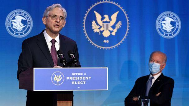 PHOTO: Federal Judge Merrick Garland delivers remarks after being nominated to be U.S. attorney general by President Joe Biden at The Queen theater Jan. 7, 2021, in Wilmington, Delaware. (Chip Somodevilla/Getty Images, FILE)
