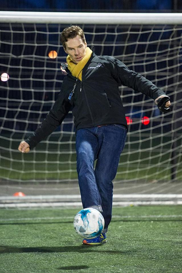 <p>The <em>Dr. Who</em> star kicked around a soccer ball in London on Tuesday, ahead of his gig hosting the 2018 Laureus World Sports Awards later this month. (Photo: Jeff Spicer/Getty Images for Laureus) </p>