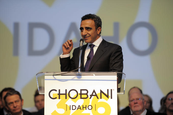 Chobani co-founder and CEO Hamdi Ulukaya speaks in 2012 at the grand opening of the world's largest yogurt manufacturing plant, in Twin Falls, Idaho. (Photo: Jack Dempsey/Invision for Chobani/AP)