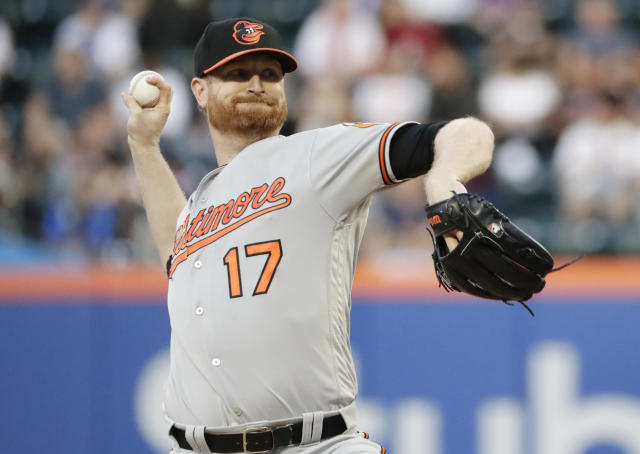 Baltimore Orioles' Alex Cobb delivers a pitch during the first inning of a baseball game against the New York Mets Tuesday, June 5, 2018, in New York. (AP Photo/Frank Franklin II)