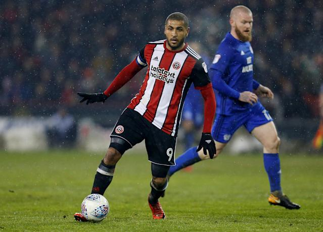 "Soccer Football - Championship - Sheffield United vs Cardiff City - Bramall Lane, Sheffield, Britain - April 2, 2018 Sheffield United's Leon Clarke in action Action Images/Ed Sykes EDITORIAL USE ONLY. No use with unauthorized audio, video, data, fixture lists, club/league logos or ""live"" services. Online in-match use limited to 75 images, no video emulation. No use in betting, games or single club/league/player publications. Please contact your account representative for further details."