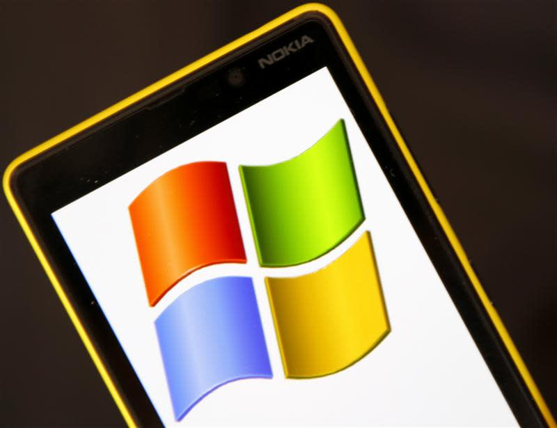 A Nokia Lumia 820 smartphone with Microsoft logo on the screen is shown in a photo illustration taken in the central Bosnian town of Zenica